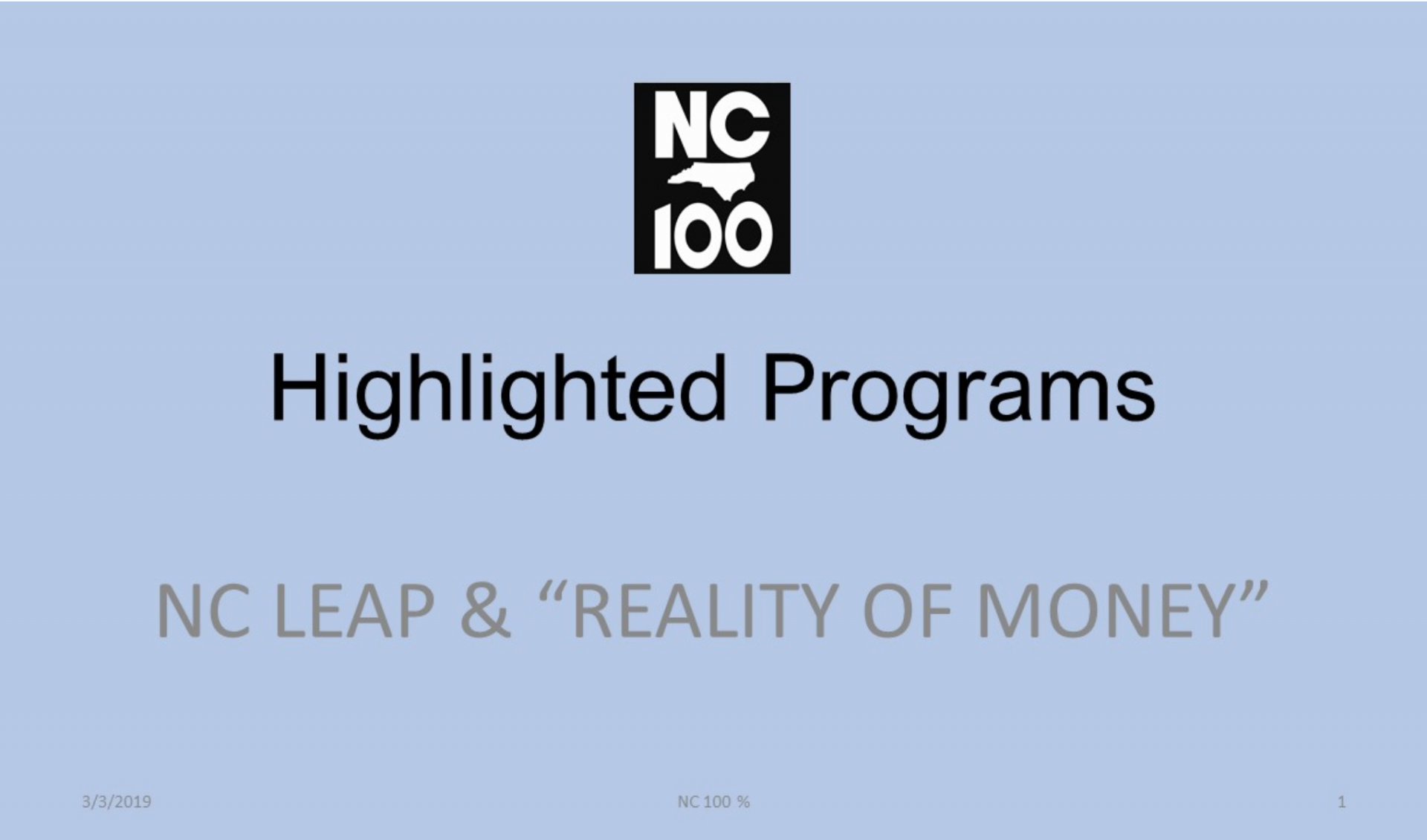 NC 100 highlighted programs